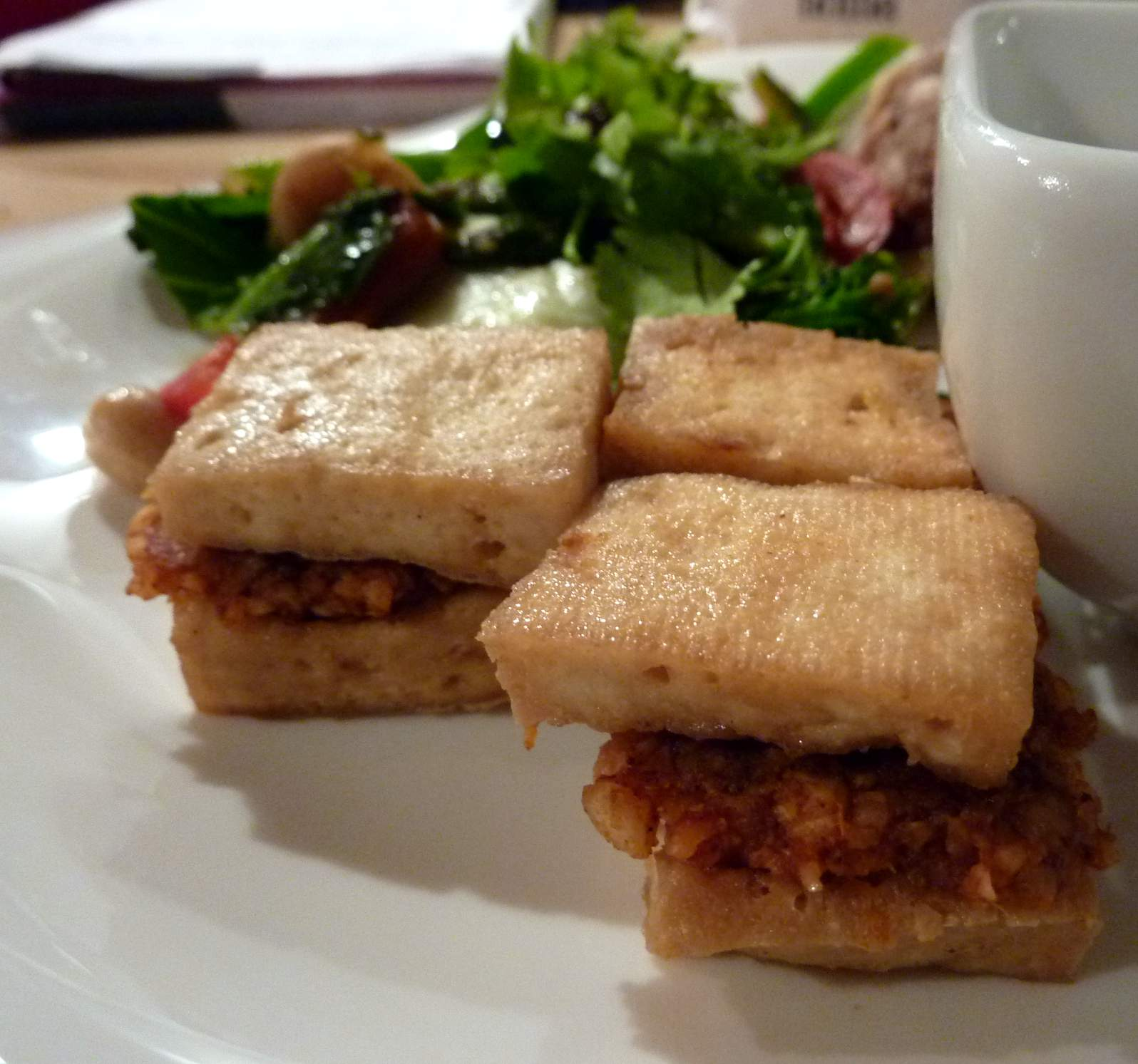 Tofu stuffed with Cashew, Ginger and 5 spice