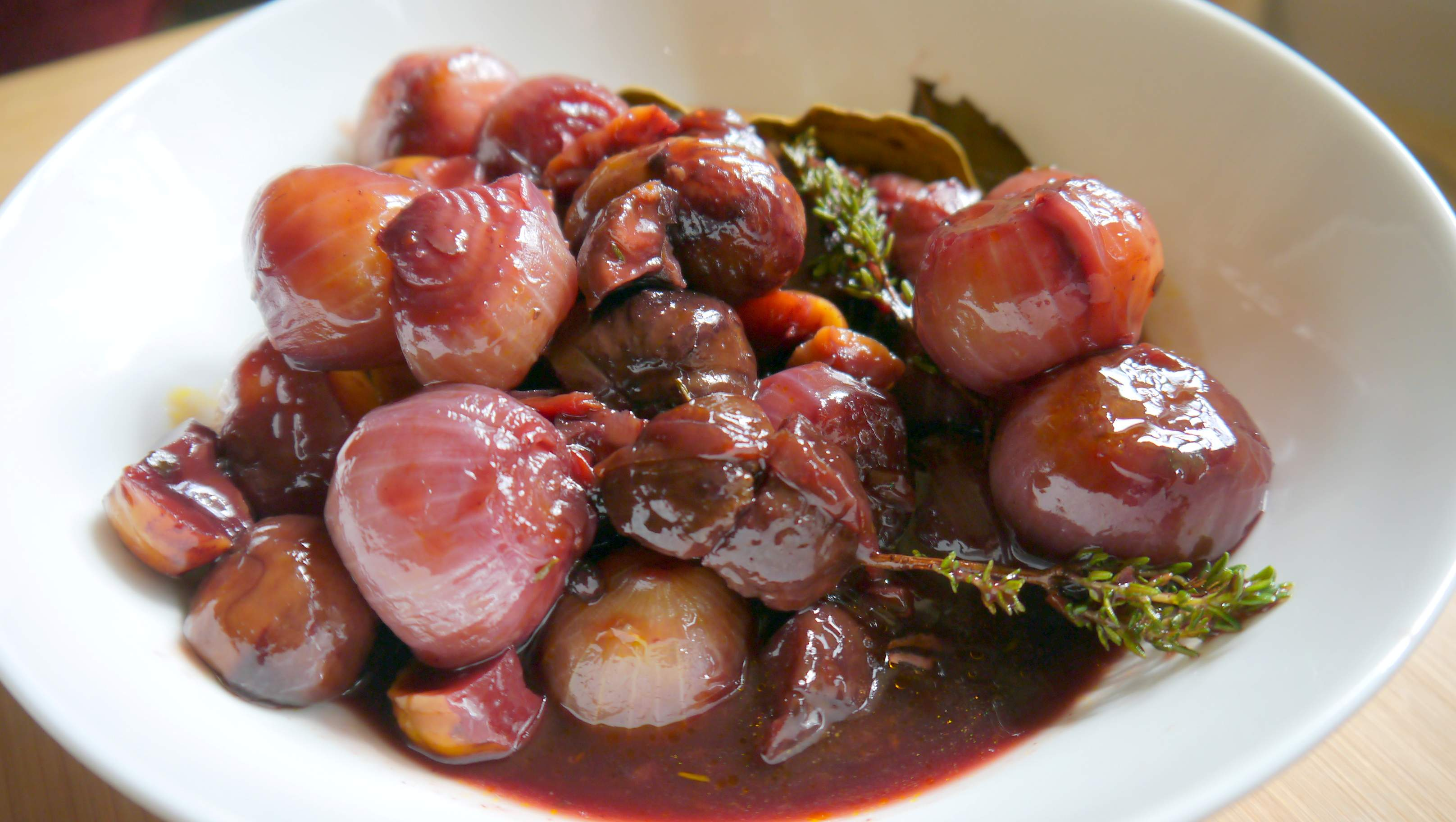 Chestnuts and Shallots braised in Red Wine
