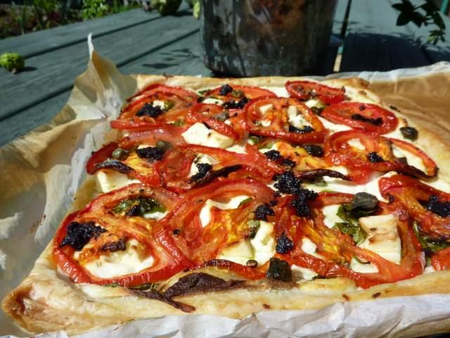 Roasted Tomato Tart with Feta, Olives and Pesto